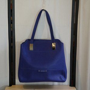 B MAkowskY Lapis Blue Leather Tote Adj Sides